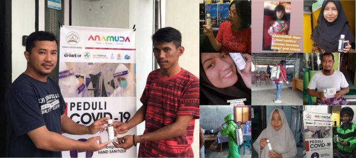 Yayasan Hidayah Bangsa dan Anamuda Gorontalosaat membagikan hand sanitizer gratis untuk masyarakat Gorontalo dalam rangka mencegah penyebaran Covid-19 atau Virus Corona, Jumat (27/3).