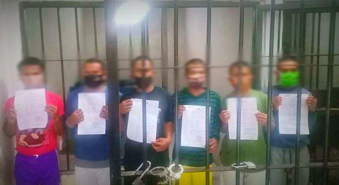 Enam orang yang ditetapkan sebagai tersangka. (Foto : Istimewa)
