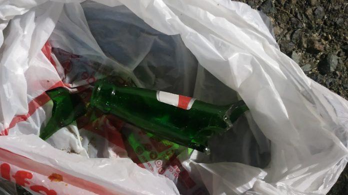 Barang bukti yang ditemukan di TKP berupa sepenggal botol pecah
